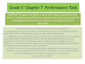 Grade 5 Chapter 7 Performance task as PDF