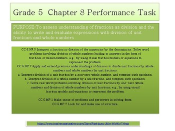 Grade 5 Chapter 8 Performance task as PDF