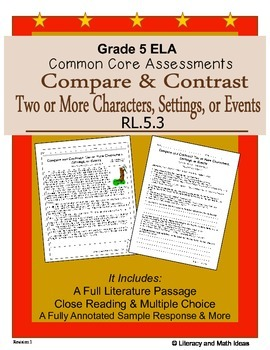 Grade 5 Common Core Assessments: Characters & Events  RL.5.3
