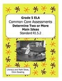 Grade 5 Common Core Assessments:  Determine Two or More Main Ideas RI.5.2