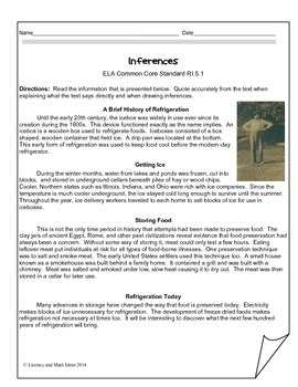 Grade 5 Common Core Assessments:  Inferences RI.5.1