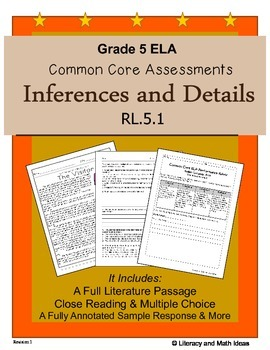 Grade 5 Common Core Assessments: Inferences and Details RL.5.1