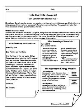 Grade 5 Common Core Assessments:  Use Multiple Sources RI.5.7