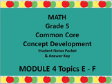 Grade 5 Math Common Core CCSS Student Lesson Pack Module 4 Topics E-F & Ans Key