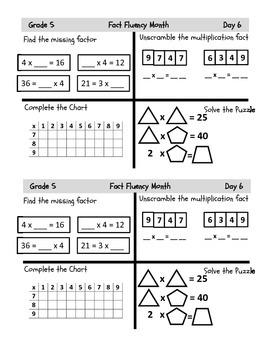 Grade 5 Common Core Fluency Resources