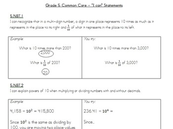 Grade 5 - Common Core - I can statements -Math