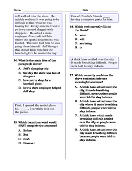Grade 5 Common Core Language and Writing Practice #4