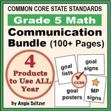 Grade 5 Common Core Math Communication Bundle (Posters, Goal Signs, Checklists)