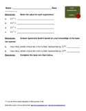 Grade 5 Common Core Math Homework Sheet for Base Ten/ Powe