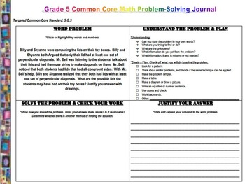 Grade 5 Common Core Math Problem Solving Journal (Word Problems)