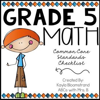 Grade 5 Common Core Math Standards Checklist
