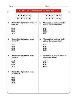 Grade 5 Common Core: Numbers and Operations in Base Ten 1.1 Math Worksheet