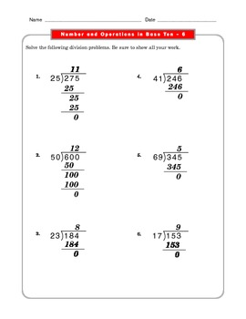Grade 5 Common Core: Numbers and Operations in Base Ten 6.2 Math Worksheet