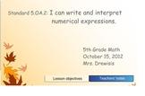 Grade 5 Common Core Numerical Expressions SMARTboard lesson