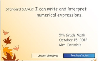 Grade 5 Common Core Numerical Expressions SMARTboard lesson