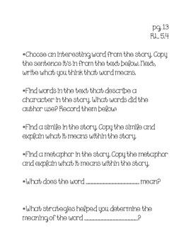 Grade 5 Common Core Reader's Journal Prompts