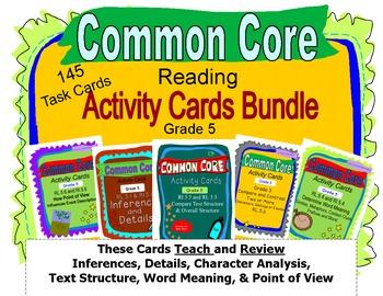 Grade 5 Common Core Reading Activity Cards Bundle