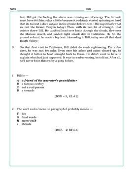 Grade 5 Common Core Reading: Grandpa Bill and the Tornado