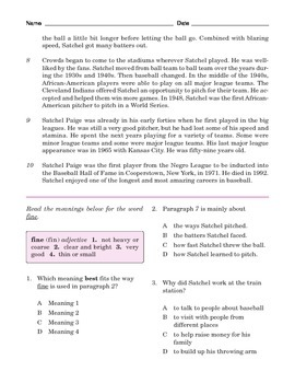 Grade 5 Common Core Reading: Informational Text about Satchel Paige