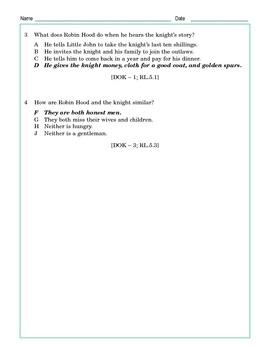 Grade 5 Common Core Reading: Robin Hood and the Sad Knight Scene I