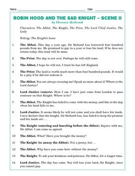 Grade 5 Common Core Reading: Robin Hood and the Sad Knight Scene II