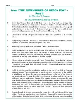 Grade 5 Common Core Reading: The Adventures of Reddy Fox Part 2