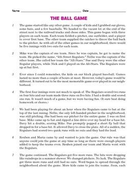 Grade 5 Common Core Reading: The Ballgame