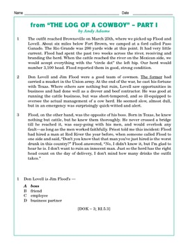 Grade 5 Common Core Reading: The Log of a Cowboy Part 1