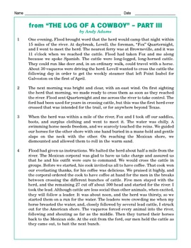 Grade 5 Common Core Reading: The Log of a Cowboy Part 3