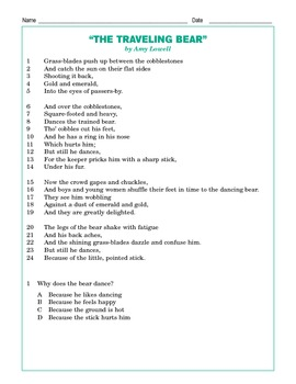 """Grade 5 Common Core Reading: """"The Traveling Bear"""""""