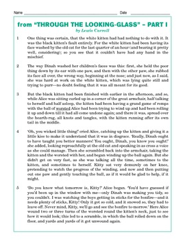 Grade 5 Common Core Reading: Through the Looking-Glass Part 1