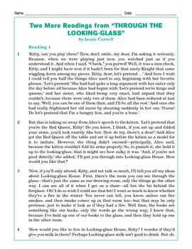 Grade 5 Common Core Reading: Through the Looking-Glass -- Two More Readings