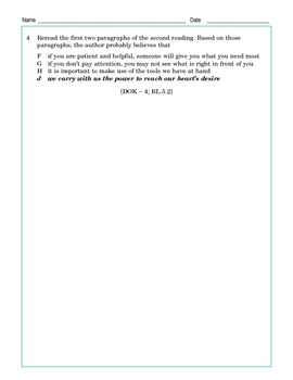 Grade 5 Common Core Reading: Two Endings