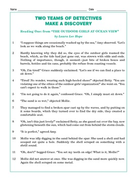 Grade 5 Common Core Reading: Two Teams of Detectives Make a Discovery