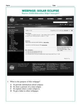 Grade 5 Common Core Reading: Webpage: Solar Eclipse