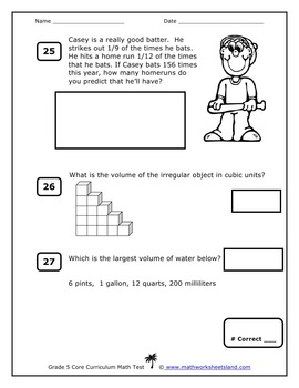 Grade 5 Common Core Test and Quiz Pack