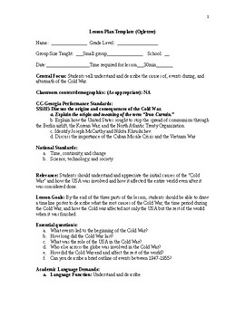 Grade 5 Comprehensive Cold War Lesson plan