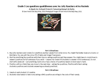 Grade 5 Core French Back to School Jolly Ranchers&Rockets Activity