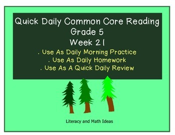 Grade 5 Daily Common Core Reading Practice Week 21 {LMI}