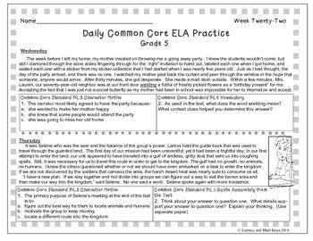 Grade 5 Daily Common Core Reading Practice Week 22 {LMI}