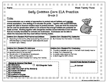 Grade 5 Daily Common Core Reading Practice Week 23 {LMI}