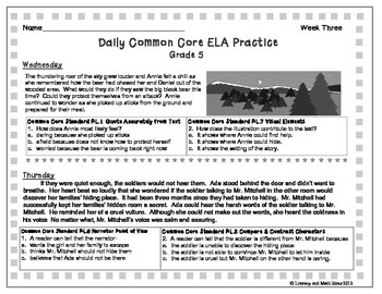 Grade 5 Daily Common Core Reading Practice Weeks 1-5 {LMI}