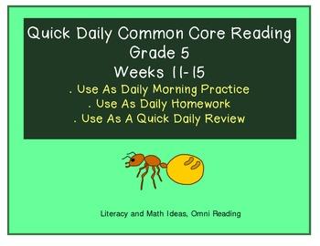 Grade 5 Daily Common Core Reading Practice Weeks 11-15 {LMI}