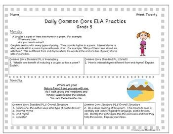 Grade 5 Daily Common Core Reading Practice Weeks 16-20 {LMI}