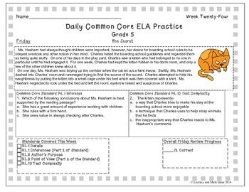 Grade 5 Daily Common Core Reading Practice Weeks 21-40 {LMI}