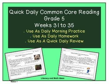 Grade 5 Daily Common Core Reading Practice Weeks 31-35 {LMI}