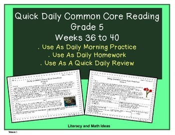 Grade 5 Daily Common Core Reading Practice Weeks 36-40 {LMI}
