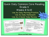 Grade 5 Daily Common Core Reading Practice Weeks 6-10 {LMI}
