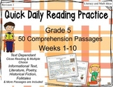 Grade 5 Daily Reading Practice (Weeks 1-10)