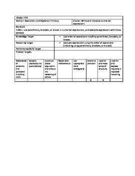 Grade 5 Deconstructed Math Standards